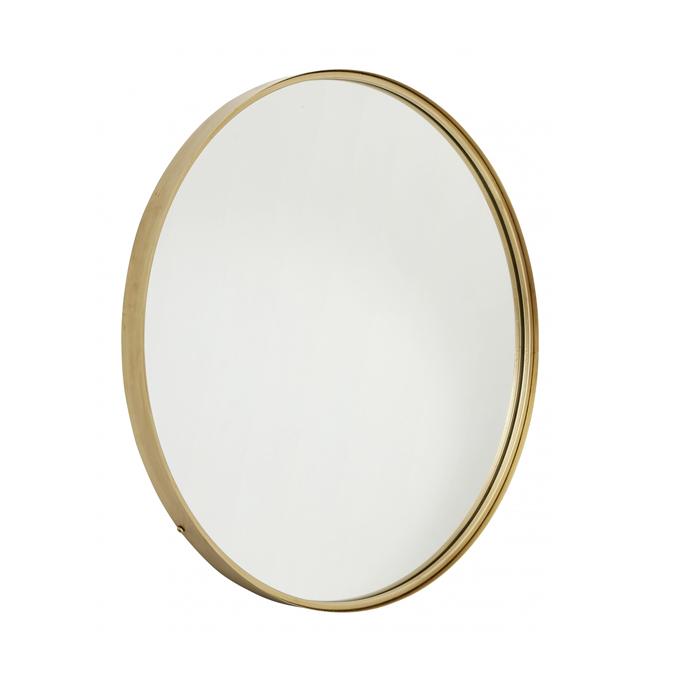 spejl messing Rundt spejl i gylden ramme   Altomindretning.dk spejl messing