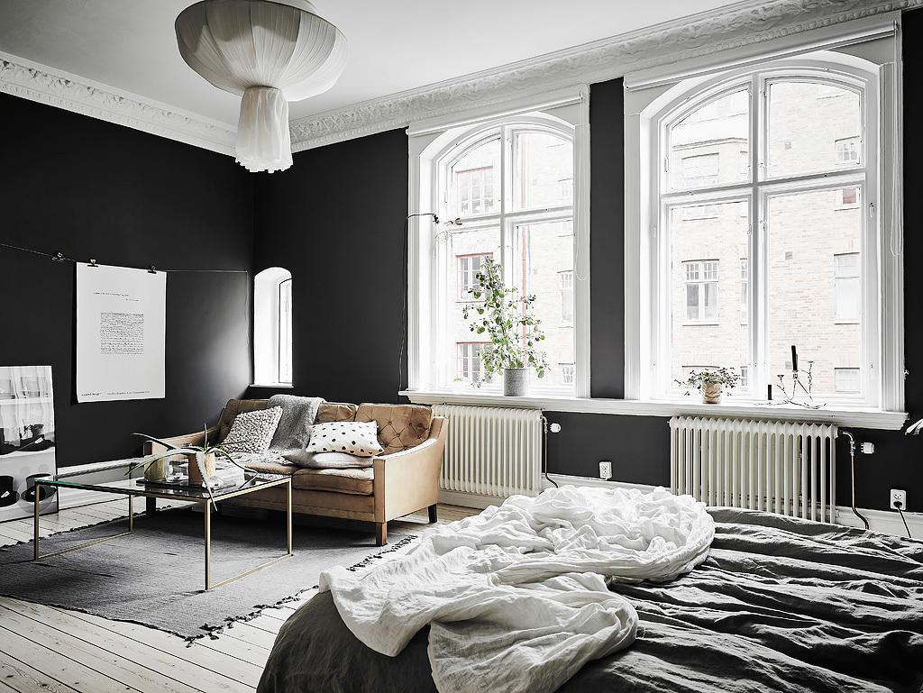 Stue og soveværelse i samme rum -