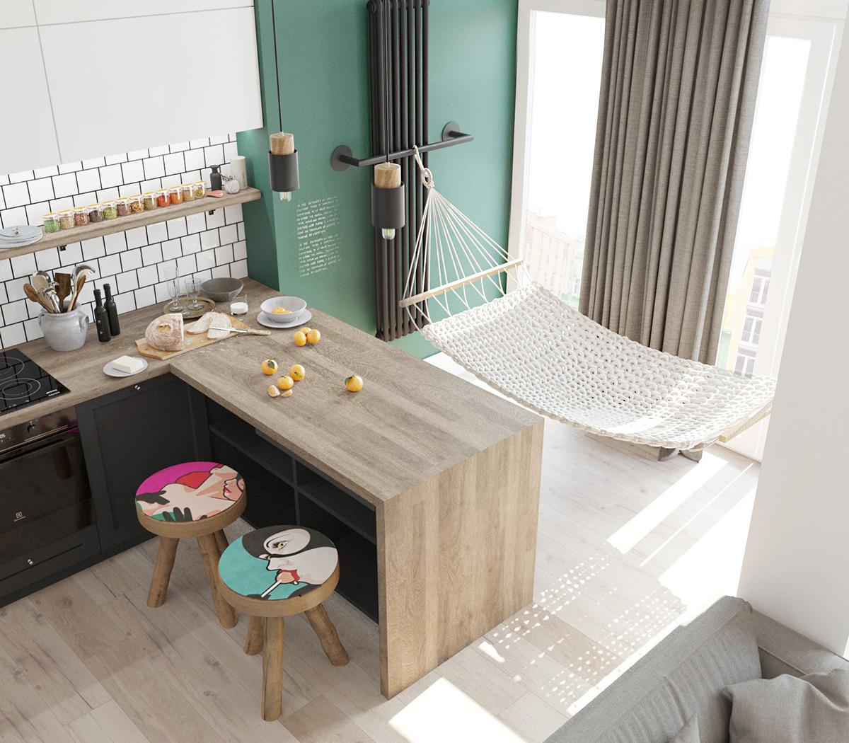 En studielejlighed med et utraditionelt soveværelse