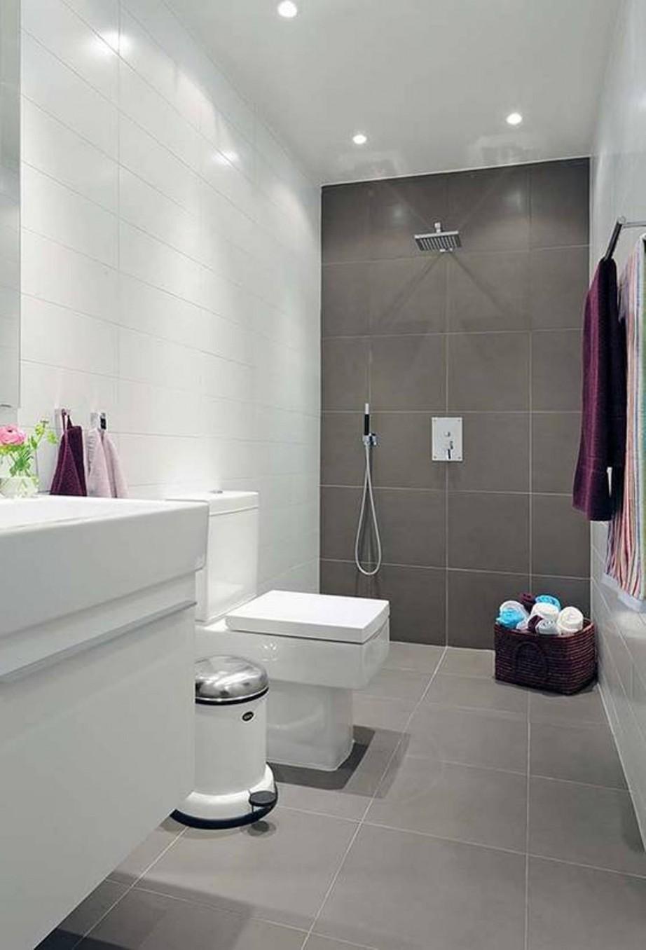 Nice Inspiration til indretning af badeværelse med store gulvfliser QW87