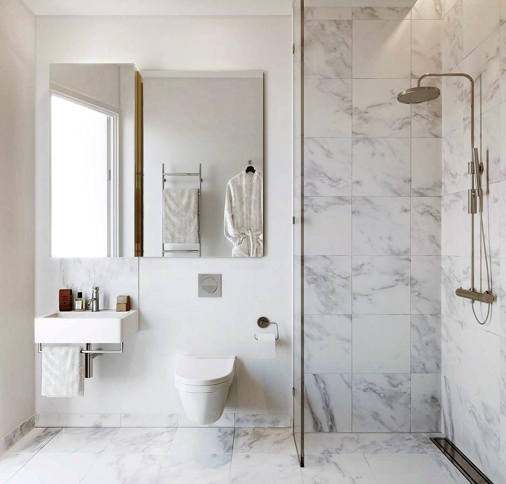 Indretning badeværelse med marmor