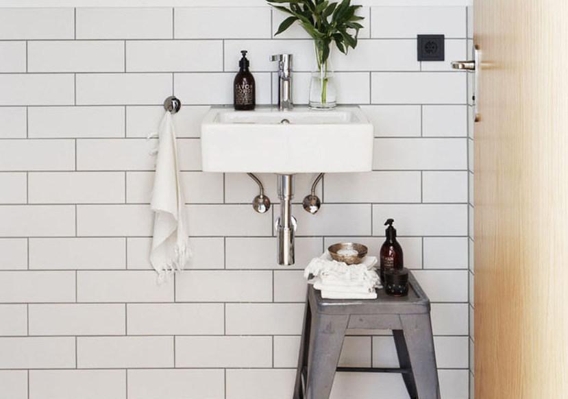 Sort hvide fliser badeværelse