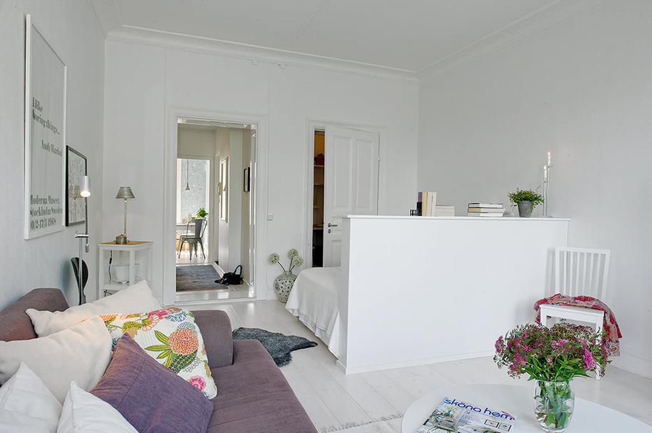 Stue og soveværelse i et- værelses lejlighed - Altomindretning.dk