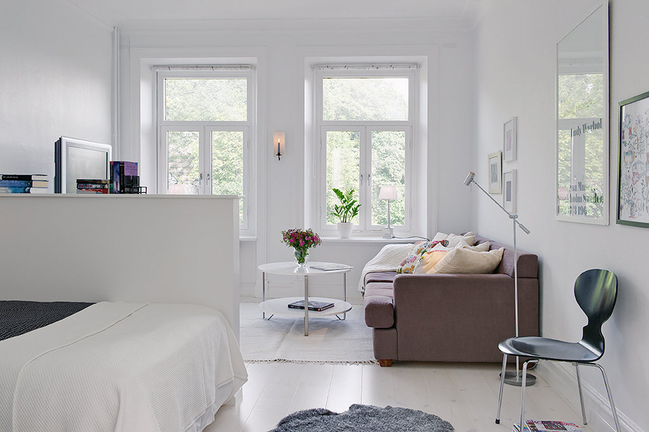 ideer til indretning af lille lejlighed Stue og soveværelse i et  værelses lejlighed   ideer til indretning af lille lejlighed