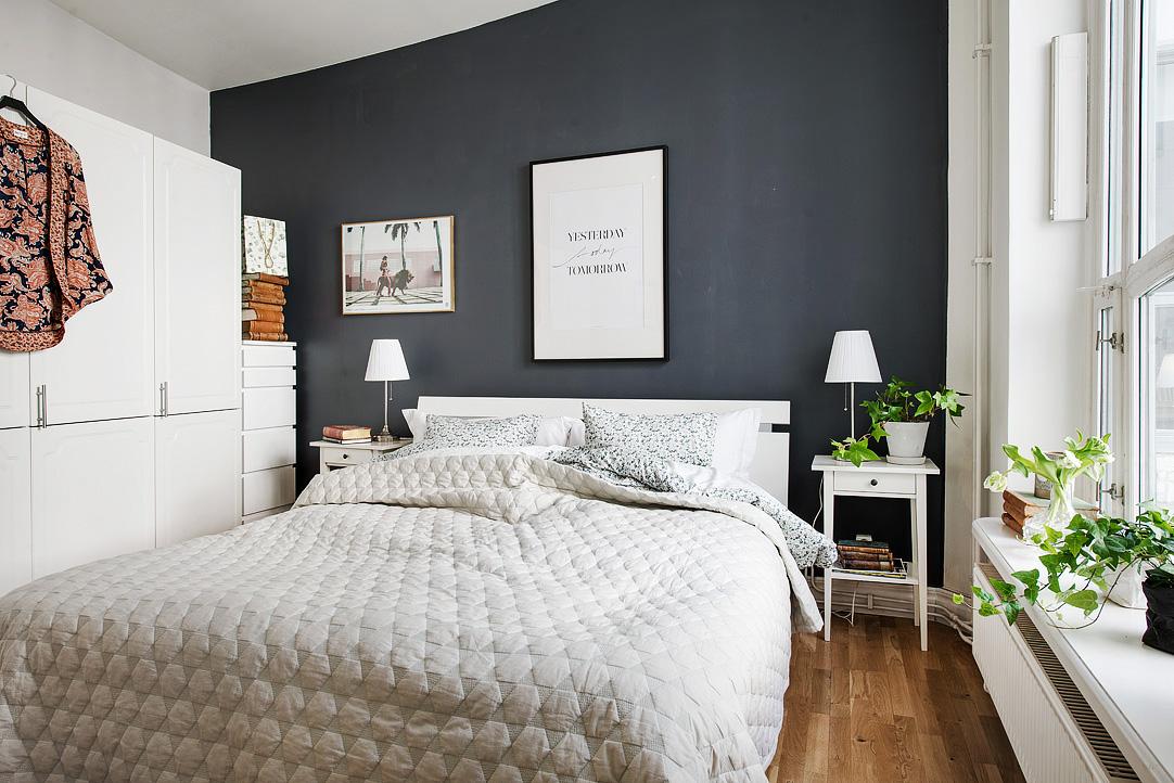 farver til soveværelset Soveværelse indrettet med sort væg farve farver til soveværelset
